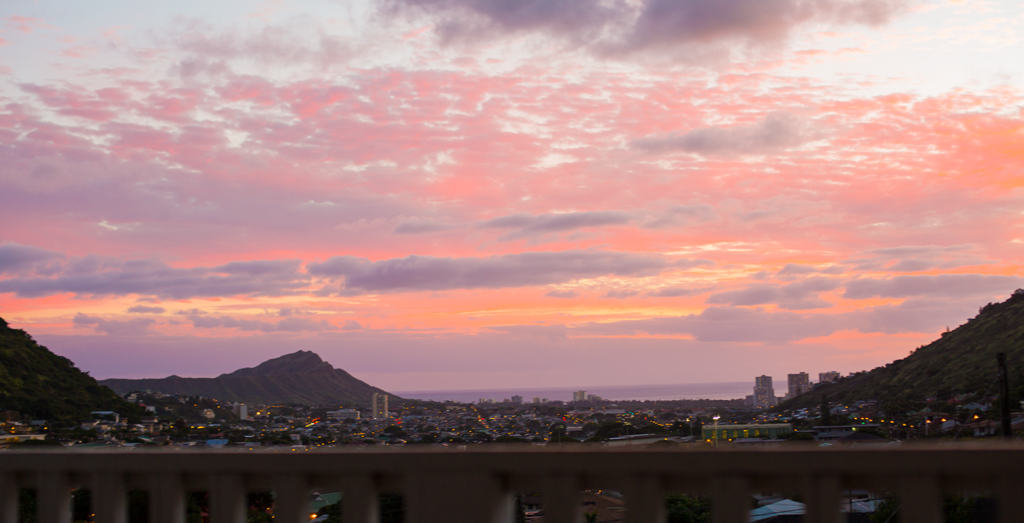 Oahu Hawaii Sunset waikiki diamondhead